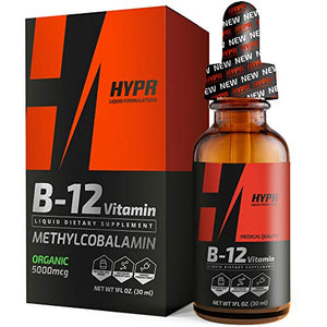 HYPR Vitamin B12 Sublingual Liquid Drops - 5000 MCG Supplement with Methylcobalamin (Methyl B-12)