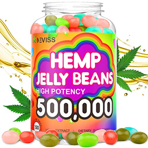 Hemp Jelly Beans for Pain and Anxiety 500,000, Stress & Inflammation Relief, Sleep, Relaxation, Calm & Mood Support - Organic Hemp Jelly Beans 150cts