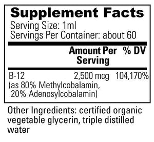 VeganSafe B-12 - Organic Liquid Vegan Vitamin B12 Methylcobalamin Adenosylcobalamin Supplement by Global Healing Center - Great Tasting Drops for Faster & Better Absorption (2 Fl Oz)