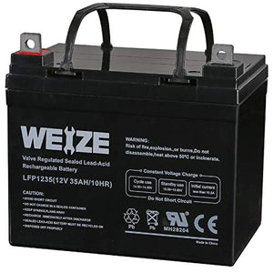 Weize 12V 35AH Battery Rechargeable SLA Deep Cycle AGM Replace 12 Volt 33AH 34AH 36AH 30AH, in Series 24V 36V 48V