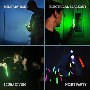 12 Ultra Bright Glow Sticks - Emergency Light Sticks for Camping Accessories, Parties, Hurricane Supplies, Earthquake, Survival Kit and More - Lasts Over 12 Hours (Green)