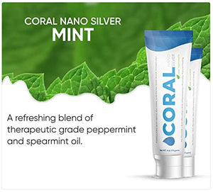 Coral White Nano Silver Flavor Bundle Natural Fluoride Free Teeth Whitening Xylitol, Toothpaste, Coral Calcium Nano Silver Infused SLS Free 4 Ounce (Mint Berry Bundle)