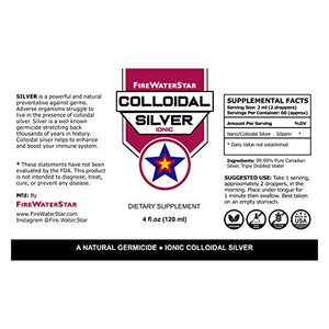 Colloidal Silver | 4 fl oz • Glass Bottle w/Dropper • 50 ppm | Ionic • Clear | Made from 99.99% Pure Silver | Boost Your Immune System