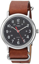 Load image into Gallery viewer, Timex Unisex TW2R63100 Weekender 38mm Brown/Black Leather Slip-Thru Strap Watch