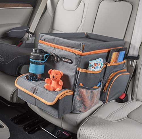 High Road Car Organizer for Kids with Cooler and Snack Tray (Gray)