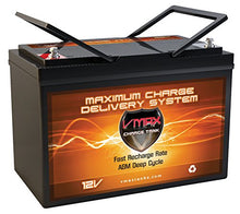 Load image into Gallery viewer, VMAX MR127 12 Volt 100Ah AGM Deep Cycle Maintenance Free Battery Compatible with Boats and 40-100lb, minnkota, Cobra, sevylor and Other trolling Motor (Group 27 Marine Deep Cycle AGM Battery)