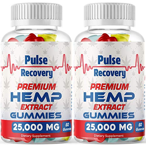 Hemp Gummies (2-Pack - 120 Count) Premium Hemp Extract Sugar Coated Gummies - 25,000mg per Bottle - for Relief of Pain, Stress, Anxiety, Improved Sleep - 100% Natural - Made in USA