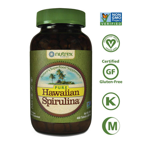 Pure Hawaiian Spirulina-500mg Tablets 400ct - Vegan, Non-GMO, Non-Irradiated - 100% Hawaii Grown - Superfood Supplement & Natural Multivitamin