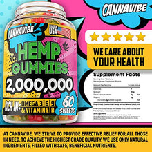 Load image into Gallery viewer, Cannavibe Hemp Gummies - Calm & Sleep Gummies with Hemp Extract - Made in USA - Rich in Vitamin B & Omega 3-6-9 - 60 Pcs