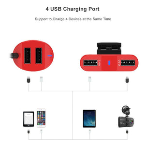 iGOKU Car Charger USB 4 Ports 48W 9.6A with Built-in Fuse