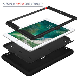 Hocase iPad 5th/6th Generation Case, iPad 9.7 2018/2017 Case, High-Impact Shock Absorbent Dual Layer Silicone+Hard PC Bumper Protective Case for iPad A1893/A1954/A1822/A1823 - Black - Omigod, Dibs!™