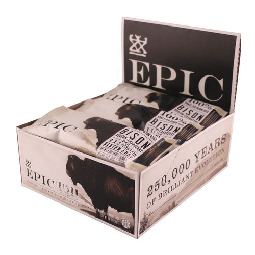 EPIC Bison Bacon Cranberry Bars, 12 Count Box 1.3oz bars