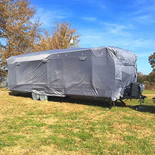 "Load image into Gallery viewer, RVMasking Upgraded 100% Waterproof Oxford Travel Trailer RV Cover, Fits 24'1"" - 26' RVs - Easy Installaiton Anti-UV Ripstop Camper Cover with Tongue Jack Cover & Adhesive Repair Patch"