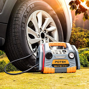 POTEK Car Jump Starter with 150 PSI Tire Inflator/Air Compressor,1000 Peak/500 Instant Amps with USB Port