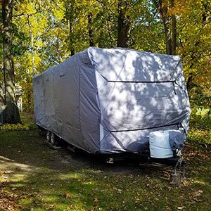 "RVMasking Upgraded 100% Waterproof Oxford Travel Trailer RV Cover, Fits 24'1"" - 26' RVs - Easy Installaiton Anti-UV Ripstop Camper Cover with Tongue Jack Cover & Adhesive Repair Patch"