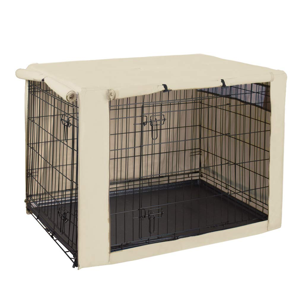 HiCaptain Polyester Dog Crate Cover - Durable Windproof Pet Kennel Cover for Wire Crate Indoor Outdoor Protection (42 inches, Light Tan)