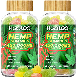 2 Pack Hemp Gummies, HOOLOO 450,000MG Fruity Hemp Gummy for Relaxing, Reduce Stress Anxiety, Sleep Better, Natural Hemp Extract Gummies, Made in USA