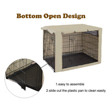 Load image into Gallery viewer, HiCaptain Polyester Dog Crate Cover - Durable Windproof Pet Kennel Cover for Wire Crate Indoor Outdoor Protection (42 inches, Light Tan)