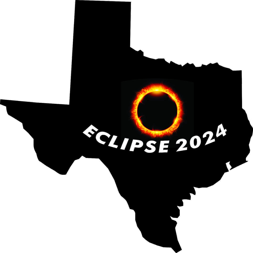 StickerTalk 5inx5in Texas Eclipse 2024 Sticker Car Window Bumper Luggage Cup Stickers