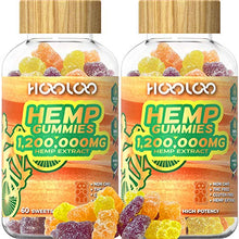 Load image into Gallery viewer, 2 Pack Hemp Gummies, HOOLOO 1,200,000MG Vegan Fruity Hemp Gummy Bears for Relaxing, Sleep Better, Reduce Stress Anxiety, Natural Hemp Extract Gummies, Made in USA