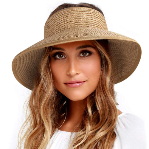 Roll Up Sun Visor Wide Brim Straw Hats for Women