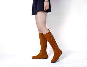 Women's Quilted Knee High Flat Boots with Zipper