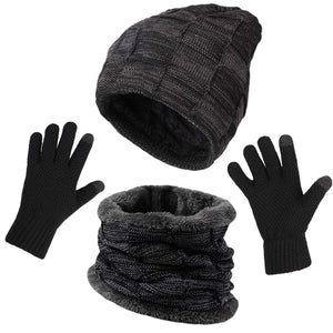 KRATARC Winter Warm Scarf Beanie Hat Glove Neck Gaiter Set