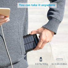 Load image into Gallery viewer, Solar Charger 15000mAh Portable Weatherproof Power Bank with 2.4A Outputs