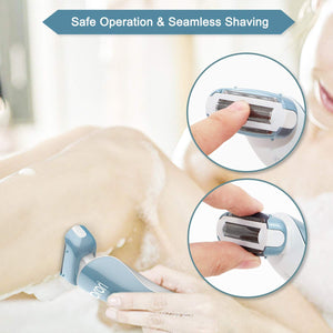 Electric Razor for Women - Womens Shaver Bikini Trimmer Body Hair Removal for Legs and Underarms Rechargeable Wet and Dry Painless Cordless with LED Light