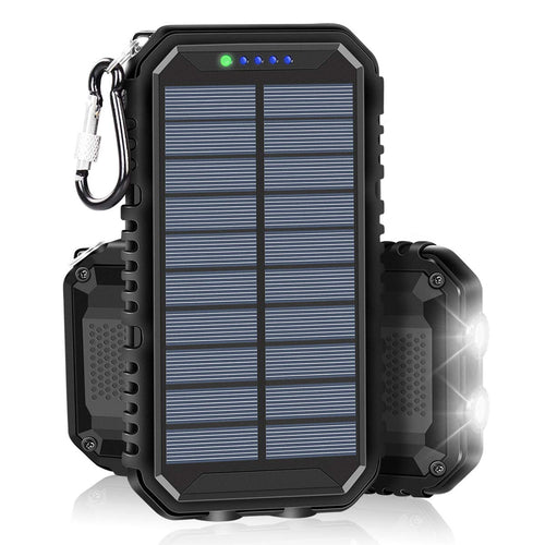 Solar Charger 15000mAh Portable Weatherproof Power Bank with 2.4A Outputs