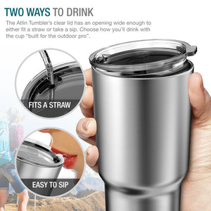 Atlin Tumbler [30 oz. Double Wall Stainless Steel Vacuum Insulation] Travel Mug [Crystal Clear Lid] Water Coffee Cup [Straw Included] - Omigod, Dibs!™