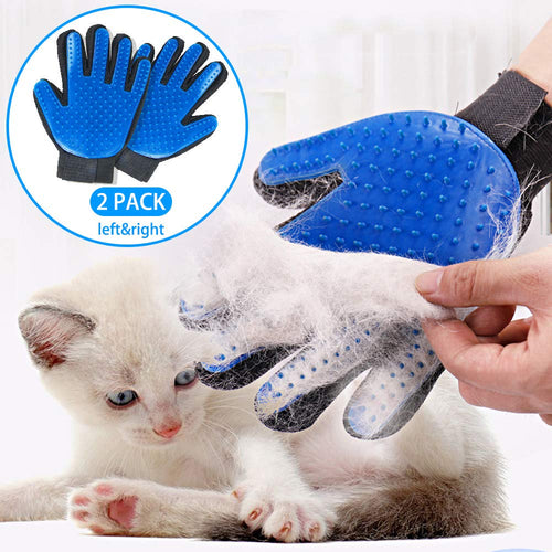 Pet Grooming Glove Hair Remover Gentle Deshedding Pet Massage Gloves (1Pair Left & Right Hand)