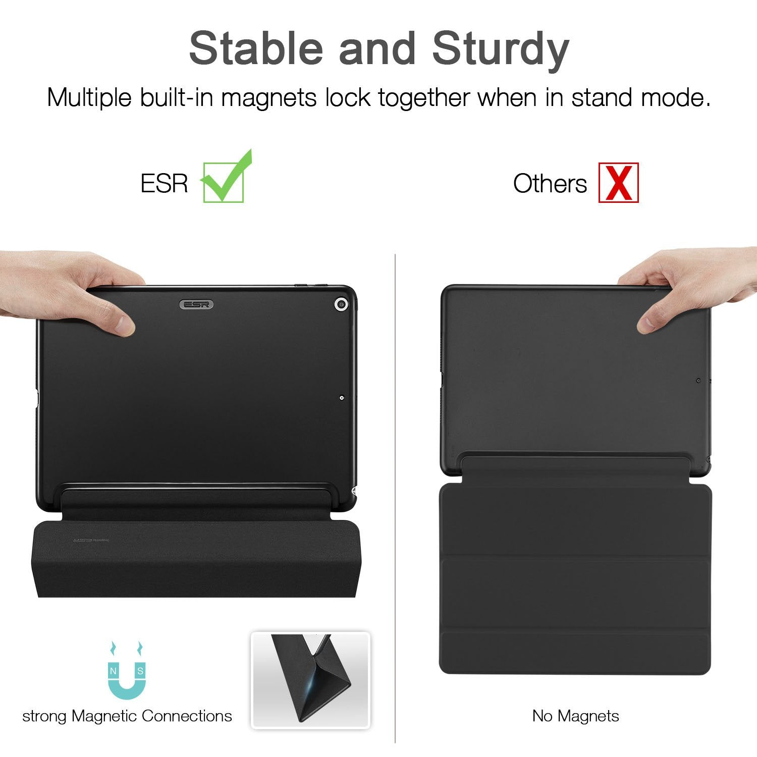 ESR iPad 9.7 2018//2017 Case Hard Back Cover Compatible for The Apple iPad 9.7 iPad 5th // 6th Generation,Black Microfiber Lining Lightweight Smart Case Trifold Stand with Auto Sleep//Wake Function