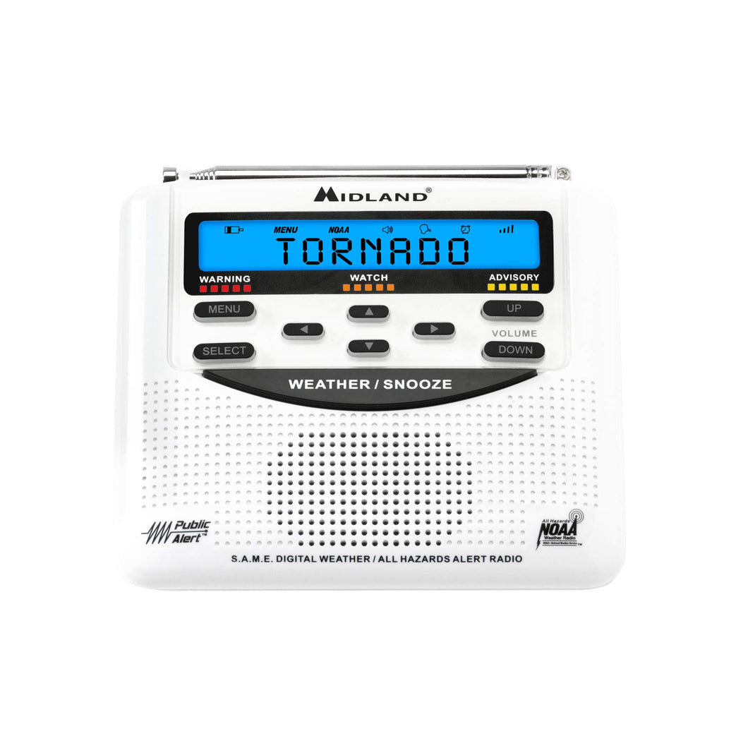 Midland - WR120B/WR120EZ - NOAA Emergency Weather Alert Radio - S.A.M.E. Localized Programming, Trilingual Display, 60+ Emergency Alerts, & Alarm Clock (WR120B - Box Packaging) - Omigod, Dibs!™