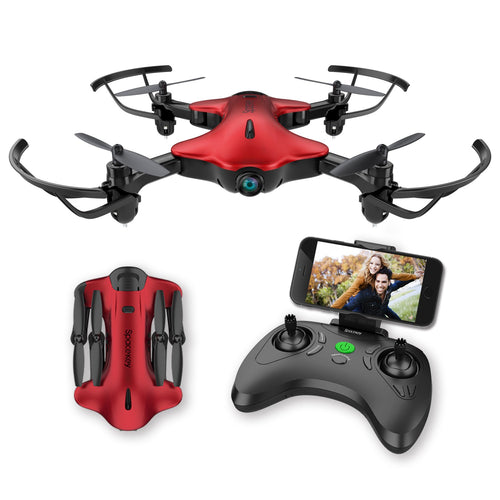 Drone for Kids, Spacekey FPV Wi-Fi Drone with Camera 720P HD, Real-time Video Feed, Great Drone for Beginners, Quadcopter Drone with Altitude Hold, One-Key Take-Off, Landing Foldable Arms (Red) - Omigod, Dibs!™