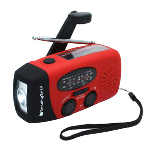 RunningSnail Emergency Hand Crank Self Powered AM/FM NOAA Solar Weather Radio with LED Flashlight