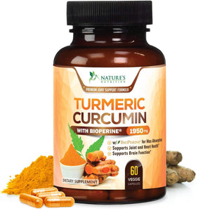 Turmeric Curcumin Max Potency 95% Curcuminoids 1950mg with Bioperine Black Pepper for Best Absorption, Anti-Inflammatory Joint Relief, Turmeric Supplement Pills by Natures Nutrition - 60 Capsules