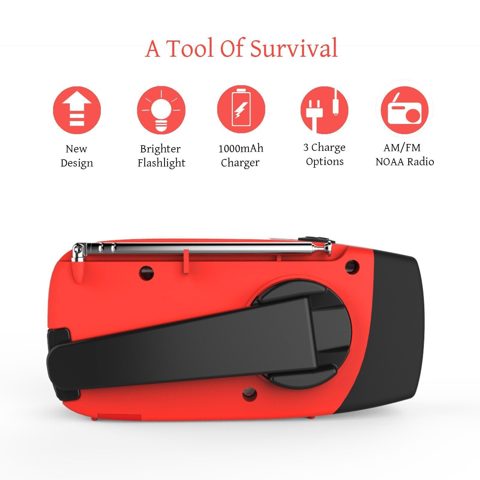 Image result for RunningSnail Emergency Hand Crank Self Powered AM/FM NOAA Solar Weather Radio with LED Flashlight, 1000mAh Power Bank for iPhone/Smart Phone