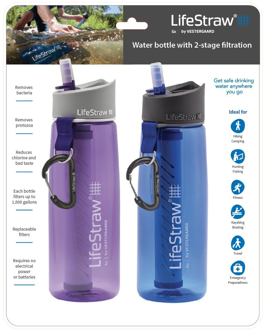 LifeStraw Go Water Filter Bottles with 2-Stage Integrated Filter Straw (Pack of 2)