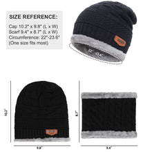 Load image into Gallery viewer, 2-Pieces Winter Beanie Hat Scarf Set