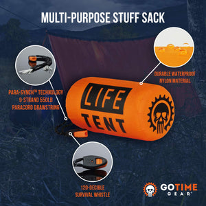 Go Time Gear Life Tent Emergency Survival Shelter - 2 Person Emergency Tent