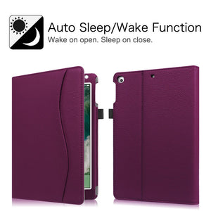 Fintie iPad 9.7 2018 2017 / iPad Air 2 / iPad Air Case - [Corner Protection] Multi-Angle Viewing Folio Cover w/Pocket, Auto Wake/Sleep for Apple iPad 6th / 5th Gen, iPad Air 1/2, Purple - Omigod, Dibs!™