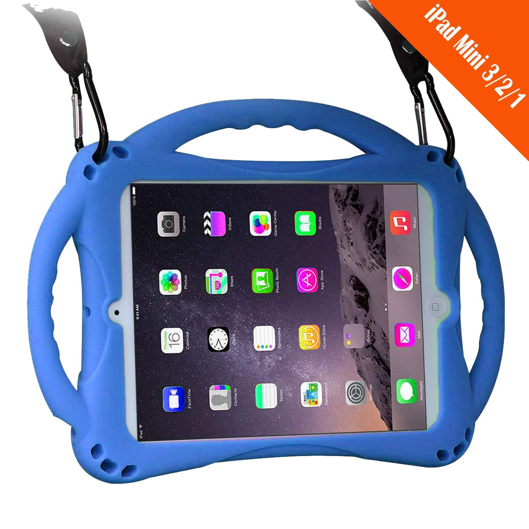 TopEsct TopEs iPad Mini Case Kids Shockproof Handle Stand Cover&(Tempered Glass Screen Protector) for iPad Mini, Mini 2, Mini 3 and iPad Mini Retina Models (Blue)