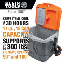 Load image into Gallery viewer, Work Cooler 17-Quart, Keeps Cool 30 Hours, Seats 300 pounds, Tradesman Pro Tough Box Klein Tools 55600