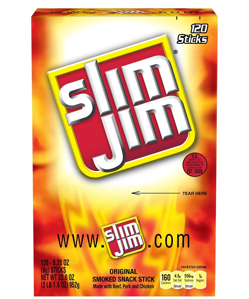 Slim Jim Snack-Sized Smoked Meat Sticks, Original Flavor, 120 Count (Pack of 1)