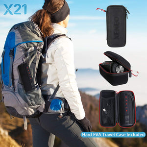 Xeneo X21 Portable Outdoor Wireless Bluetooth Speaker Waterproof With FM radio, Micro SD card Slot, AUX, TWS for Shower - Hard Travel Case Included
