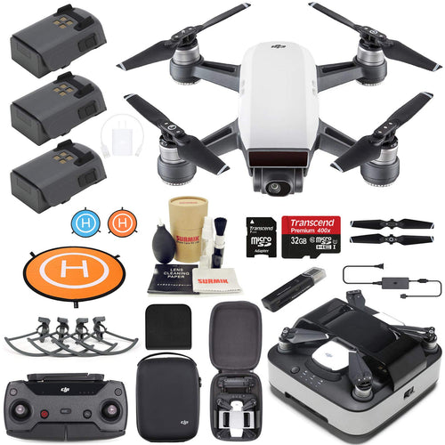 DJI Spark Drone Quadcopter (Alpine White) Elite Bundle with Remote Controller, Portable Charging Station, 3 Batteries, Charging Station Bag and Must Have Accessories - Omigod, Dibs!™