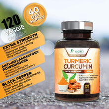 Load image into Gallery viewer, Turmeric Curcumin Max Potency 95% Curcuminoids 1950mg with Bioperine Black Pepper for Best Absorption, Anti-Inflammatory Joint Relief, Turmeric Supplement Pills by Natures Nutrition - 60 Capsules