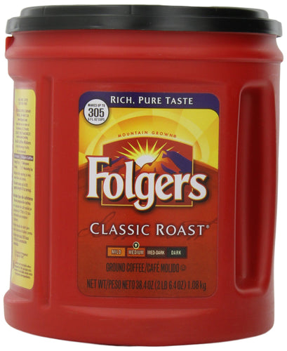 Folgers Classic Roast Ground Coffee, Medium Roast Coffee, 38.4 Ounces