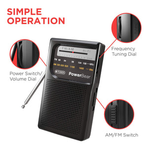 PowerBear AM FM Radio (Portable Radio) Handheld Battery Operated Radio | Long Range and Long Lasting Radio - Black - Omigod, Dibs!™